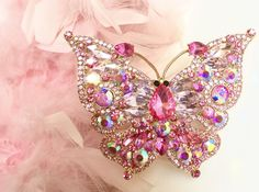 Rhinestone Brooch HUGE Pink Butterfly  Crystals 4 x 3 inches #unbranded