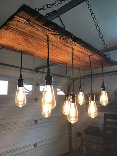 Rustic Wood 8 Pendant Wood Light Smart with LED Edison Bulbs Pallet Walls, Pallet Furniture, Furniture Ideas, Diy Chandelier, Rustic Wood Chandelier, Wood 8, Wood Pendant Light, Welcome To My House, Hanging Lights