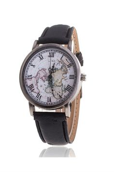 Unisex Vintage World Map Pattern Leather Strap Band Watch In Black