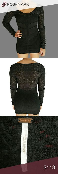 FREE PEOPLE Bodycon Mini Long Sleeved Lace Dress In great gently loved condition! Form-fitting, sexy, bodycon, little black mini dress! Lace with long sleeves.  The lace and spandex combo make it stretchy and comfortable! Measurements are available upon request. No rips, tears, or stains. Please use the offer button for all offers. Feel free to bundle for a great discount! No trades, ladies. Free People Dresses Long Sleeve