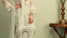 Light Bluish GreyColor 3 Piece Stitched Organza Pakistani Ready to Wear Pret Dresses Online Shopping On Discount Rate At Sale By Phatyma Khan Winter Collection 2018