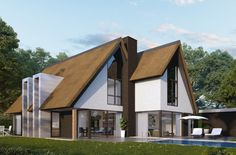 Gerealiseerd - BuitenhuisVillabouw Thatched House, Building Art, Architecture, Home Projects, House Plans, Villa, Cottage, House Design, Cabin