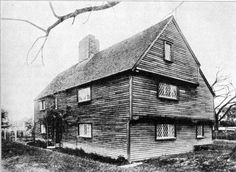 "WHIPPLE HOUSE, Ipswich MA, before restoration. Hewn end overhang type. The overhang is here entirely at the end of the house, and in both the second story and attic. The chimney is a good example of this period, with projection at back, indicating early additions to it when the ""lean-to"" was added. Fiske Kimball, Domestic Architecture of the American Colonies and the Early Republic, 1922."
