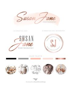 Logo design Rose gold Photography Logo Branding by BVLogoDesign