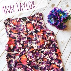 Ann Taylor Ruffle Sleeveless Top 💜 ★ In excellent condition with no visible wear! 💕 ★ Trendy and cute purple and red pattern top by Ann Taylor! Definitely a statement top. 😊 ★ 100% Cotton. ★ NO TRADES! 🚫 ★ YES OFFERS! ✅ ★ Measurements available by request. 💁🏼 Ann Taylor Tops