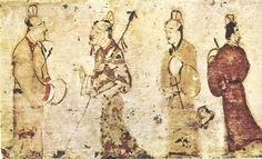 Ancient Chinese painting, Gentlemen in conversation, on a ceramic tile from a tomb near Luoyang, Henan province, dated to the Eastern Han Dynasty AD). Ancient Tomb, Ancient China, Ancient Art, Amaterasu, Storyboard, Stone Age Art, Journey To The West, Oriental, China Art