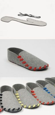 LASSO SHOES - comfy slippers, great design Lasso is a pair of flat-packed slippers. Made from one piece of wool-felt with a leather sole and laced in the colour of your choice. http://www.kickstarter.com/projects/1851515588/lasso-your-very-own-must-have-slippers-for-ultimat