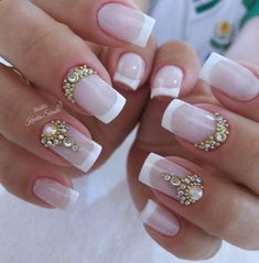 New Nails Art French Manicure Ongles Ideas Mani Pedi, Pedicure, Nails Polish, My Nails, Finger, Beauty Nail, New Nail Art, French Nails, Wedding Nails