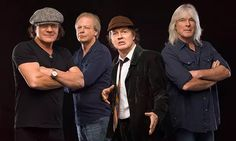 AC/DC in From left, current band members Brian Johnson, Stevie Young, Angus Young and Cliff Williams Angus Young, Brian Johnson, Radios, Phil Rudd, Stevie Young, Rock And Roll, Malcolm Young, Ac Dc Rock, Rock Groups