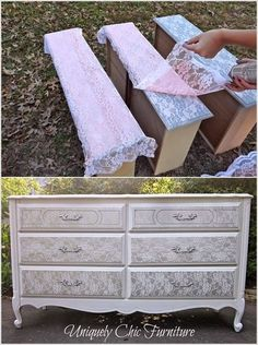 Best DIY Projects: An Old Dresser Got a Stunning Lace Makeover