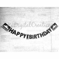 Fortnite Happy Birthday Banner Decoration Birthday Treats, Birthday Cake Toppers, Birthday Party Decorations, Birthday Parties, 12th Birthday, Boy Birthday, Banner Letters, Wall Banner, Character Words