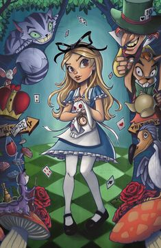 Colored in my Alice in Wonderland drawing from the other day! Alice in Wonderland Disney Kunst, Arte Disney, Disney Fan Art, Disney Pixar, Alice In Wonderland Artwork, Dark Alice In Wonderland, Wonderland Party, Childhood Movies, Illustrations