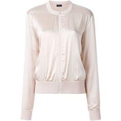 Joseph Bomber Jacket ($405) ❤ liked on Polyvore featuring outerwear, jackets, bomber style jacket, flight jacket, pink jacket, blouson jacket and bomber jacket