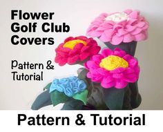 These are so pretty. I've got to get me some or have a go at making them - Flower Golf Club Head Covers Sewing Pattern by GulfstreamCottage