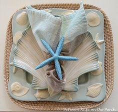 DIY Starfish Napkin Ring Pottery Barn Knock-off Pottery Barn, Pottery Studio, Napkin Folding, Beach Crafts, Shell Crafts, Deco Table, Coastal Decor, Coastal Living, Coastal Cottage