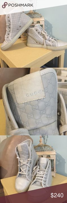 Gucci Guccissima High Top Sneakers Gucci Guccissima  California Bone High Top Sneakers all leather. In pre loved condition but well taken care off. They need some cleaning but other than very well taken care off. If you have any questions please let me know. Thank you Gucci Shoes Athletic Shoes