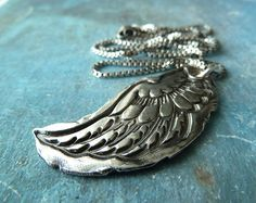Guardian Angel Wing Necklace. Fine Silver by RenataandJonathan