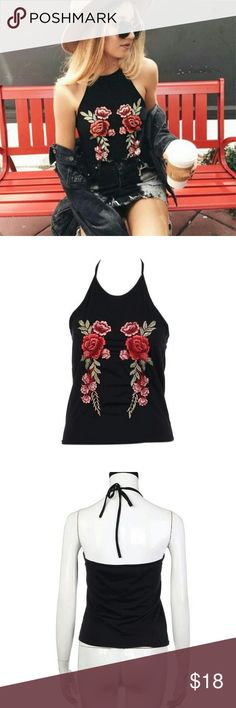 EMBROIDERED TIE TANK TOP Black tank top with floral embroiderey ties around neck fabric is cotton polyester blend. Size small is a 31 bust length 19.7 INCHES .medium 32 bust 20 inch lenght.large is a 33.9 bust with a 20.5 lenght . :-) is a 35.4 bust with a 20.9 lenght very cute just in time for summer price firm unless bundled no trades Feitong Tops Tank Tops