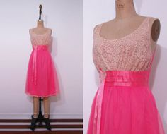 1950s vibrant pink slip / 50s lace nylon full skirt by Ainshent, $45.00