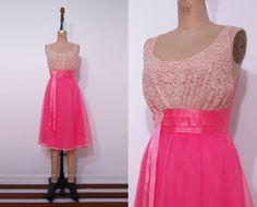 1950s vibrant pink slip / 50s lace nylon full skirt by Ainshent, $45.00