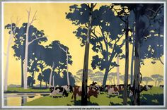 Empire Marketing Board 1926-1939; Dairying in Australia. Artist: Frank Newbould. Catalogue reference: CO 956/175