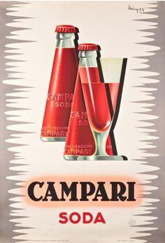 For Sale on - Giovanni Mingozzi (Italian, 'Campari Soda'. Original liquor advertising poster for Campari soda, dated Conservation linen backed and framed Vintage Italian Posters, Pub Vintage, Vintage Advertising Posters, Vintage Labels, Vintage Advertisements, 1950s Posters, Vintage Graphic, Retro Poster, Poster Ads