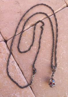Sterling Silver Skull Platinum Finish Ruby Eyes Necklace by Roman Paul #romanpaul