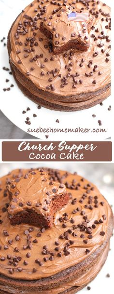Church Supper Cocoa Cake is indeed a church recipe from back in the day, and my mother made it for special occasions! This delicious chocolate cake is topped w 5 minute chocolate frosting! | suebeehomemaker.com