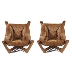 Pair Suede Sling Club Chairs - Pair 60's chocolate suede sling club chairs which have a very MCM Brazilian look to them. Very comfortable and well crafted. Medium mocha frames in excellent condition, as is suede. An eye catching very comfortable pair club chairs. - $1400