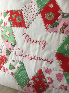 Anoria of @Sameliasmum created this pretty Christmas Pillow from Elea Lutz's Little Joys collection for Penny Rose Fabrics.