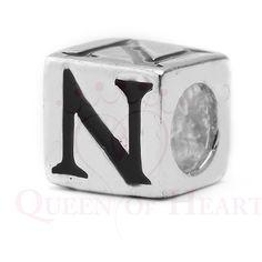letra N shakira de plata para pulsera