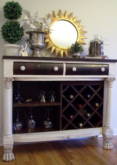 Wine bar dresser ideas for the house перекраска мебели, стол Refurbished Furniture, Bar Furniture, Repurposed Furniture, Furniture Projects, Furniture Makeover, Painted Furniture, Furniture Stores, Antique Furniture, Dresser Furniture