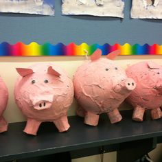 Paper mâché pigs for Charlotte's Web