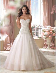Robe de mariée col coeur bustier perlé tulle