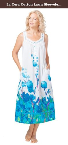 La Cera Cotton Lawn Sleeveless Ballet Nightgown In Tulip Twilight (Large (14-16), White Blue Floral). Cotton Nightgowns - La Cera presents this long sleeveless nightgown in a delightful Tulip Twilight print. Made from a woven fabric for a breathable comfort, this slightly sheer gown featured lace ribbon inset, crocheted accents and convenient inseam pockets.