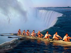 Rowers Hang Over the Edge at Niagra Falls, US-Canada Border Photographic Print by Janis Miglavs