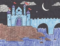This is a fun way to teach the concept of texture in art. The texture on the castle walls, the ocean, the cliffs, and the clouds are all cr... Cultural Architecture, Architecture Texture, Texture Art Projects, 2nd Grade Art, Grade 2, Principles Of Art, Art Lessons Elementary, Elementary Teaching, Medieval Art