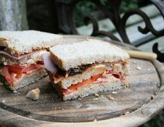 Excellent blog of British foods, this is a ham, tomato, Wensleydale and ploughman's pickle sandwich.