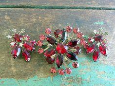 Vintage Brooch Pin Earrings Set Red Pink Rhinestone Flower Floral Spray by Holliezhobbiez on Etsy