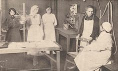 Murie Curie with daughter, researchers circa 1914