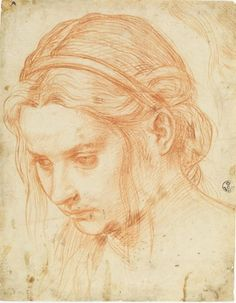 Study of the Head of a Young Woman Andrea del Sarto  C.1523, red chalk, 8 9/16 x 15 9/16.  Uffizi Gallery, Florence.