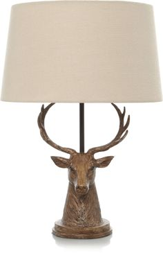 Charming and statuesque, this stag head lamp features a bronze effect decorative base, finished with a contrast cream shade and will bring a traditional feel. Pub Interior, Decor Interior Design, Tartan Decor, Hunting Lodge Decor, Woodland Lodges, Lodge Bedroom, Stag Design, Winter Living Room, Luxe Decor
