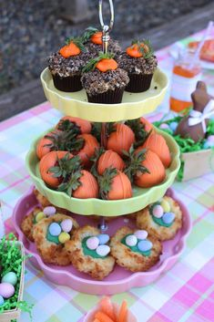 Tiered treat tray at an Easter party! See more party planning ideas at CatchMyParty.com!