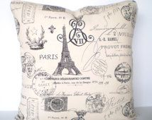 Black Cream Decorative Throw Pillow Covers Cushions Black Cream Natural French Stamp Paris Couch Bed Throw Pillow One or More All Sizes