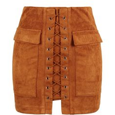 Brown Faux Suede Lace Up Front Pencil Mini Skirt ($27) ❤ liked on Polyvore featuring skirts, mini skirts, bottoms, saias, faldas, jupes, faux suede pencil skirt, brown mini skirt, short skirts and bodycon skirt