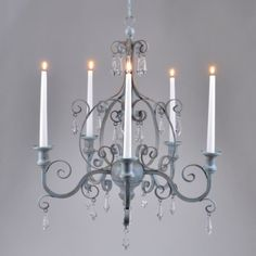 Blue candle chandelier