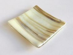 Small Glass Ring Dish in Streaky French Vanilla and Brown Fused Glass