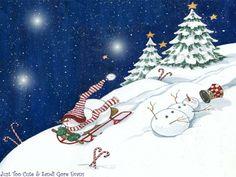 Snowmen-Sledding