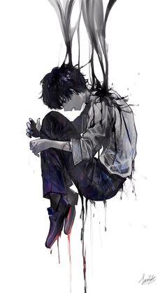In my side. Anime Guys Shirtless, Hot Anime Guys, Dark Anime, Anime Triste, Boys Wallpaper, Sad Art, Arte Horror, Animes Wallpapers, Tokyo Ghoul