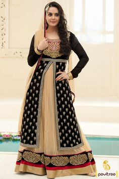 Pavitraa Black with Cream Long Anarkali Salwar Suit Rs 3540.6 #prietyzinta #preityzinta #preitysuitsonline #anarkalisalwar